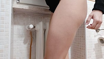 16580 exhibitionist wife hides in the bathroom and films herself while playing in stockings preview