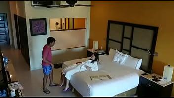 Hidden camera caught sex with girlfriend in hotel room