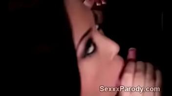 Gorgeous brunette in bikini takes care of 2 big cocks in XXX parody