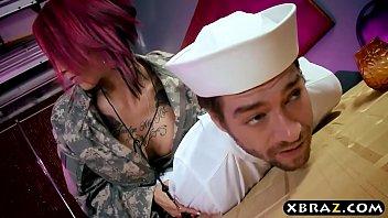 Navi boy fucks his huge boobs officer Anna Bell Peaks