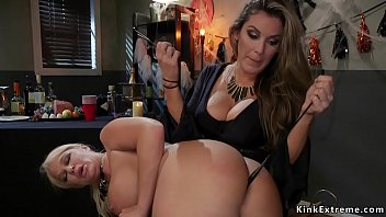 Busty lesbian anal fucks Milf slave