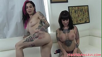 Goth babes sucking cock before riding it