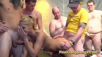 her first wild gangbang orgy