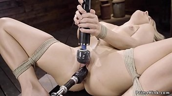 Small tits tied babe fucks Alien machine