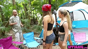 Hot camping teens fucked a homeless in a tent outdoor