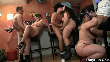 Plumper bbw group - Hot group bbw orgy in the bar