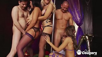 Busty Milf Jasmine Black And Her Stripper GF Bang Two Lucky Guys At The Club