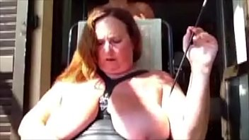 Public nude humiliation - Augusta- sunbathing in public with hood and holder