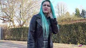 GERMAN SCOUT - GREEN HAIR GIRL TALK TO FUCK FOR CASH AT REAL PICK UP CASTING