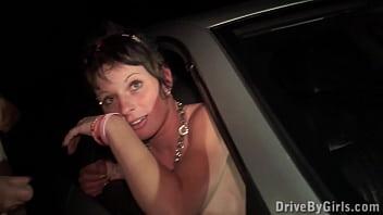 PUBLIC gangbang through the car window by random strangers