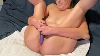 Hot Mature Milf Toys Her Pussy With Her Favorite Purple Dildo