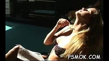 Ebony sucks a small 10-pounder while holding a lit cigarette