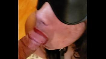 Latina slave sucking her masters cock