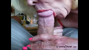 Pretty granny sucking young dick Blonde grandma sucking cock close up