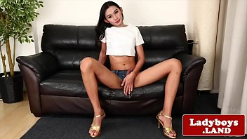 Thai ladyboy wanking her cock until climax