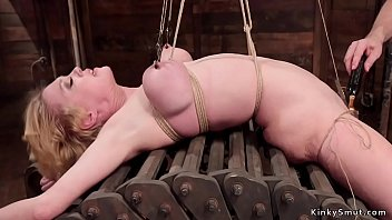Natural busty blonde anal fucked in bondage