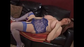 Brunette thick newspaper with huge melons in blue lingerie  Kitty Lee decided to amuse her unshaved pussy with toy from sex-shop