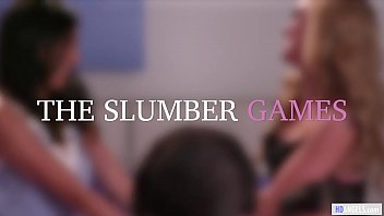 Slumber party gives them the first lesbian experience - Kendra Spade, Judy Jolie, Kali Roses and Alina Lopez