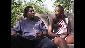 African cheerleader gets her wet pussy boned outdoor