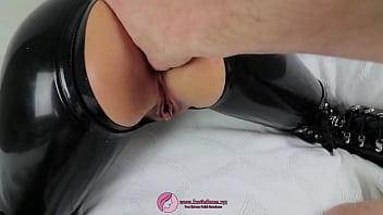 Latex leash sex of blonde milf