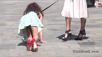 Fetish exhibitionist Public petite slave disgraced in downtown