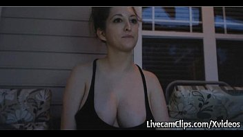 Showing my tits outdoors My hot busty neighbor doing cam show at her porch outdoors