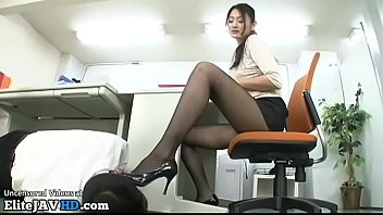 Japanese office lady caughts coworker looking at her legs