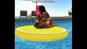 Ebony whore Blue triples sucks Paul´s cocks and getting fucked