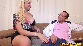 Pierced curvy transsexual facialized