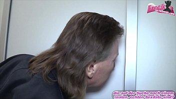 submissive german slut get head in toilet at threesome with her girlfriend ffm