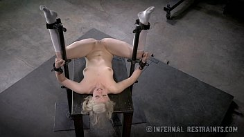 Adult lip restraints Thin blonde submissive in device bondage