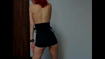 Perfect teen in tight black dress strip and dance naked