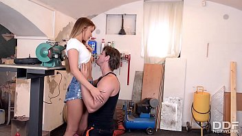 Sexy Teen in Knee High Socks Rides Cock in a Repair shop preview image