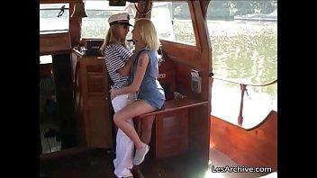Lesbian on boat Lesbian girls eat each other on a boat