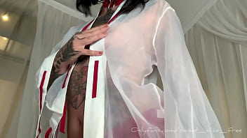 Sub horny bitch pulls and twists her pierced nipples with clamps
