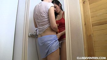 Sexy lesbian teens have fun in shower
