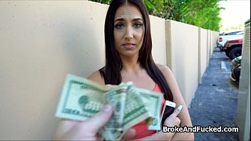 Poor but hot teen fucks for cash