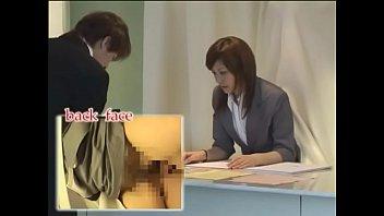Asian receptionist Japanese receptionist multi-tasking / chikan