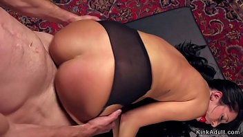 Brunette trainee in stockings rough bang