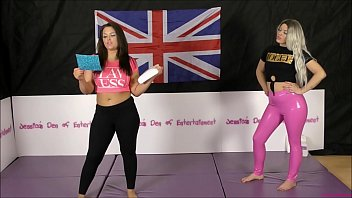 Stripped spanked humiliated Bra and panties match strip-wrestling match w, loser gets strapped in a nappy diaper hannah rose vs tamara hunt featuring roxi keogh