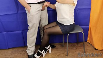 Pantyhose high heels skirts Why the secretary cannot give me a blowjob/handjob. cum on nylon sanyany