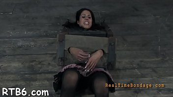 Gagged beauty with clamped nipps gets wild joy