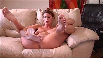 Milf Masturbating With Her Glass Dildo For Boyfriend'_s Pleasure