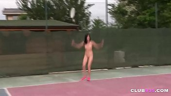 Teen cutie gets screwed by two tennis players