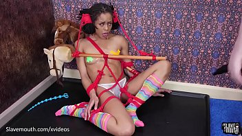 Hot mouth slave Kira Noir turned into a slobbering gagging rocking horse
