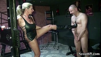 Two German MILFs Femdom Boy and Seduce him to Fuck in Latex