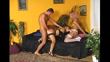 Hot threesome in fishnet lingerie