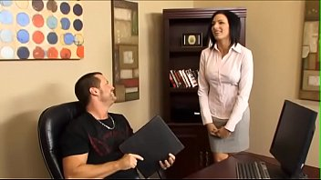 Sunburnt assistant  with big jugs helps her boss to get ready for important summit conference