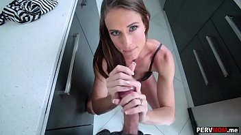 Step mom handjob - My frustrated stepmom jerked my dick off in the kitchen