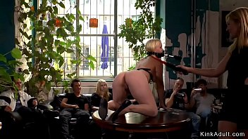 Busty blonde lezdom spanked in public